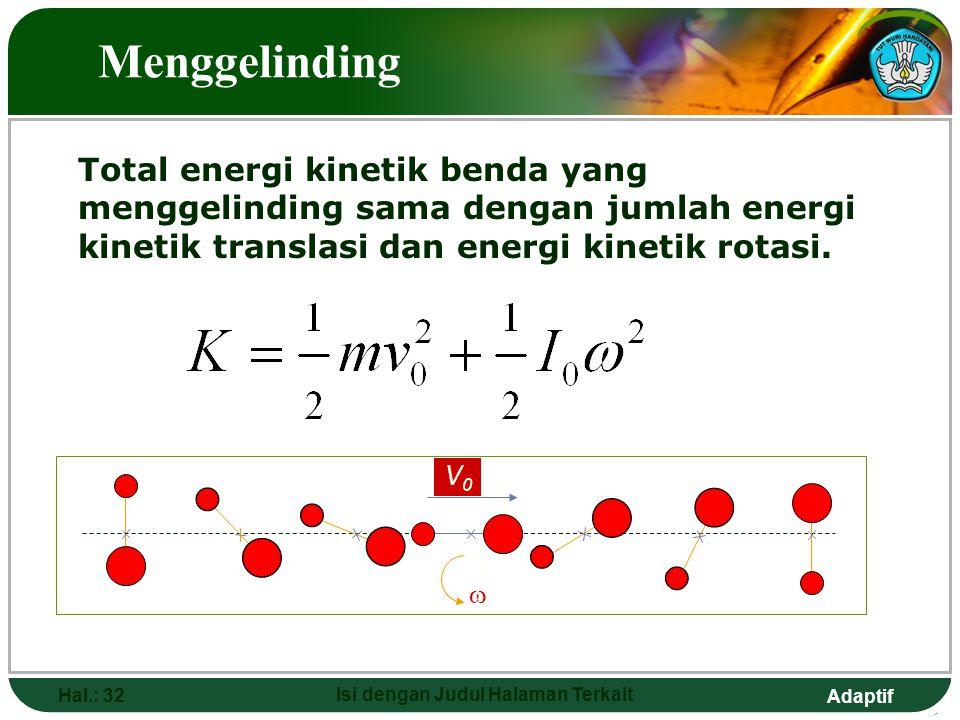 Adaptif Hal.: 32 Isi dengan Judul Halaman Terkait Menggelinding Total energi kinetik benda yang menggelinding sama dengan jumlah energi kinetik transl