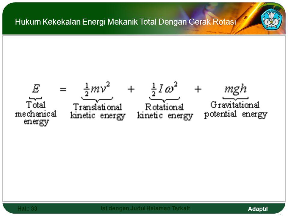 Adaptif Hal.: 33 Isi dengan Judul Halaman Terkait Hukum Kekekalan Energi Mekanik Total Dengan Gerak Rotasi