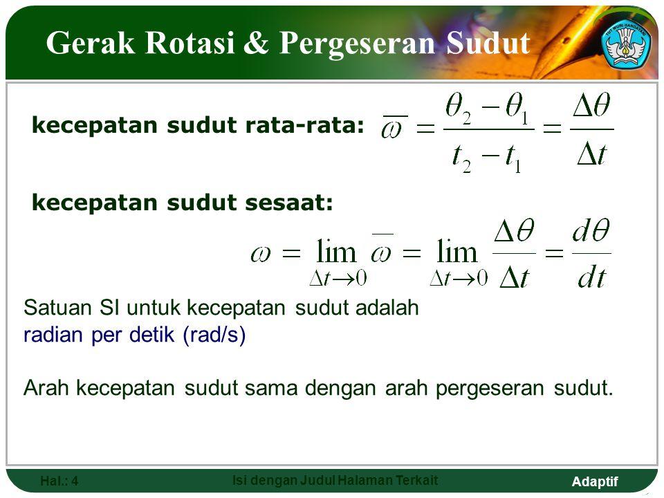 Adaptif Hal.: 4 Isi dengan Judul Halaman Terkait Gerak Rotasi & Pergeseran Sudut kecepatan sudut sesaat: kecepatan sudut rata-rata: Satuan SI untuk ke