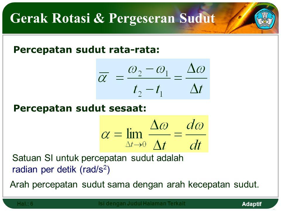 Adaptif Hal.: 6 Isi dengan Judul Halaman Terkait Gerak Rotasi & Pergeseran Sudut Percepatan sudut sesaat: Percepatan sudut rata-rata: Satuan SI untuk