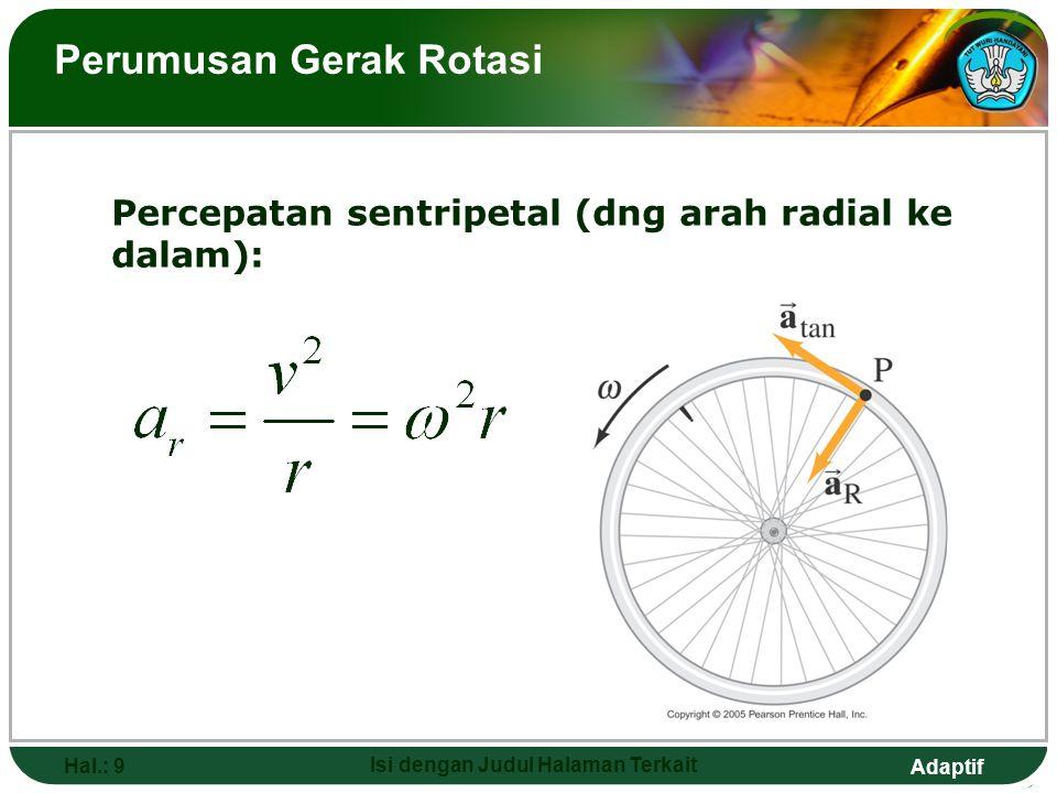Adaptif Hal.: 9 Isi dengan Judul Halaman Terkait Perumusan Gerak Rotasi Percepatan sentripetal (dng arah radial ke dalam):
