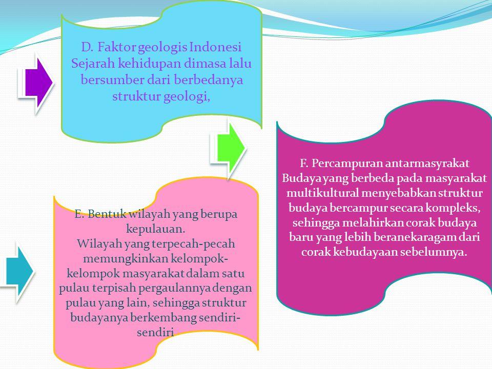 D. Faktor geologis Indonesi Sejarah kehidupan dimasa lalu bersumber dari berbedanya struktur geologi, E. Bentuk wilayah yang berupa kepulauan. Wilayah