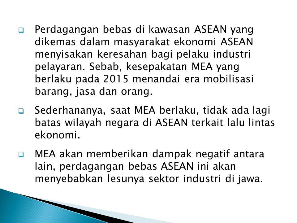  Perdagangan bebas di kawasan ASEAN yang dikemas dalam masyarakat ekonomi ASEAN menyisakan keresahan bagi pelaku industri pelayaran. Sebab, kesepakat