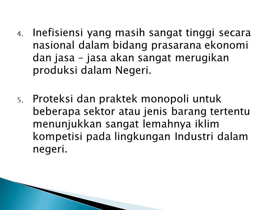 4. Inefisiensi yang masih sangat tinggi secara nasional dalam bidang prasarana ekonomi dan jasa – jasa akan sangat merugikan produksi dalam Negeri. 5.