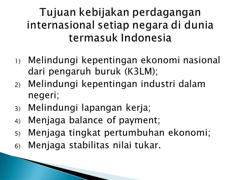 1) Melindungi kepentingan ekonomi nasional dari pengaruh buruk (K3LM); 2) Melindungi kepentingan industri dalam negeri; 3) Melindungi lapangan kerja;
