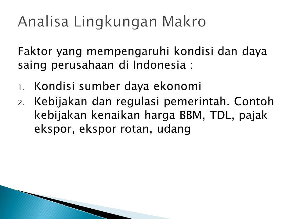 Faktor yang mempengaruhi kondisi dan daya saing perusahaan di Indonesia : 1. Kondisi sumber daya ekonomi 2. Kebijakan dan regulasi pemerintah. Contoh