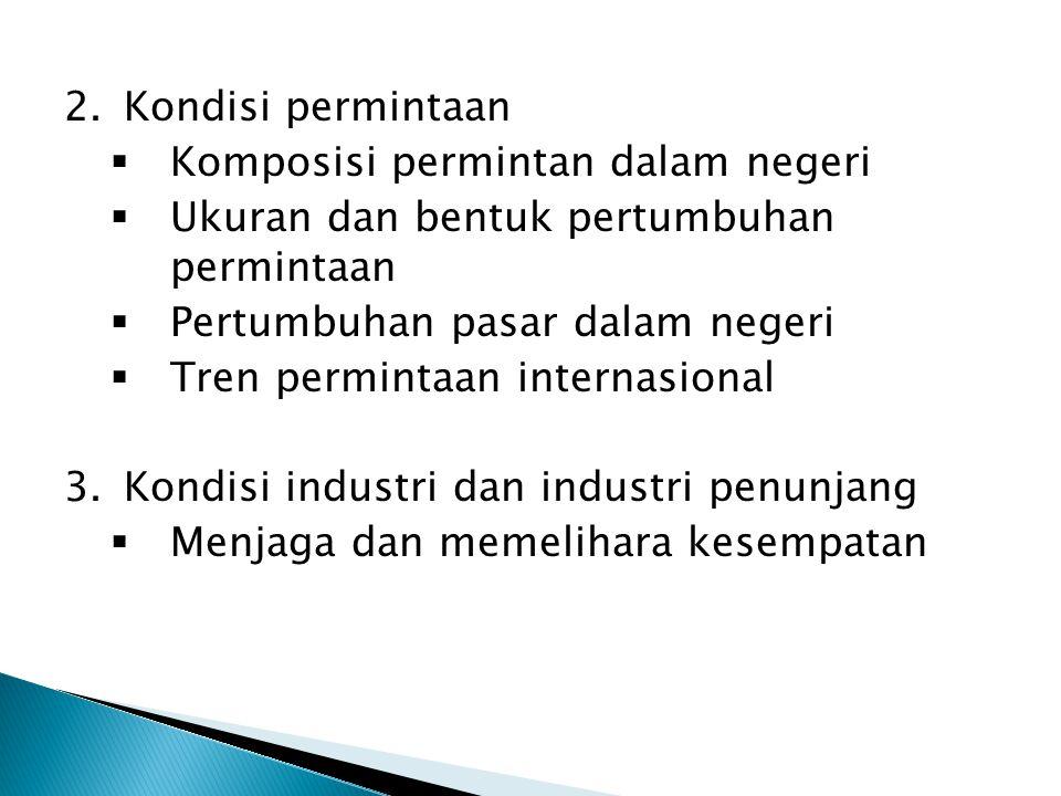2.Kondisi permintaan  Komposisi permintan dalam negeri  Ukuran dan bentuk pertumbuhan permintaan  Pertumbuhan pasar dalam negeri  Tren permintaan