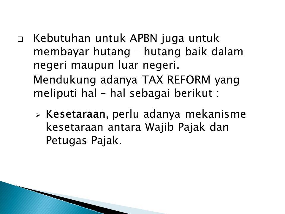  Kebutuhan untuk APBN juga untuk membayar hutang – hutang baik dalam negeri maupun luar negeri. Mendukung adanya TAX REFORM yang meliputi hal – hal s