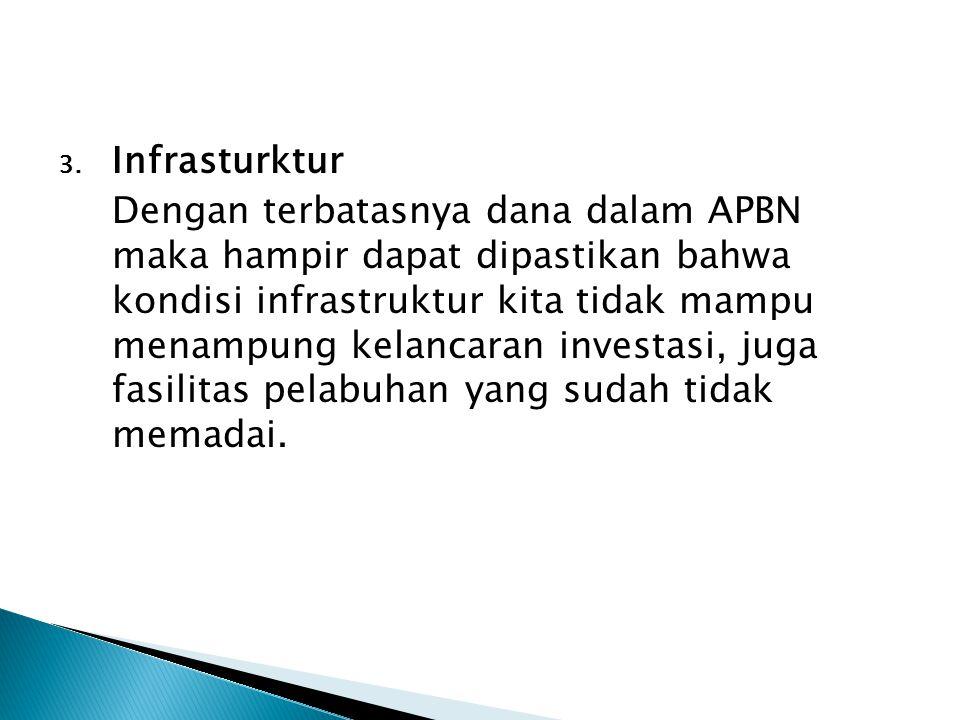 3. Infrasturktur Dengan terbatasnya dana dalam APBN maka hampir dapat dipastikan bahwa kondisi infrastruktur kita tidak mampu menampung kelancaran inv