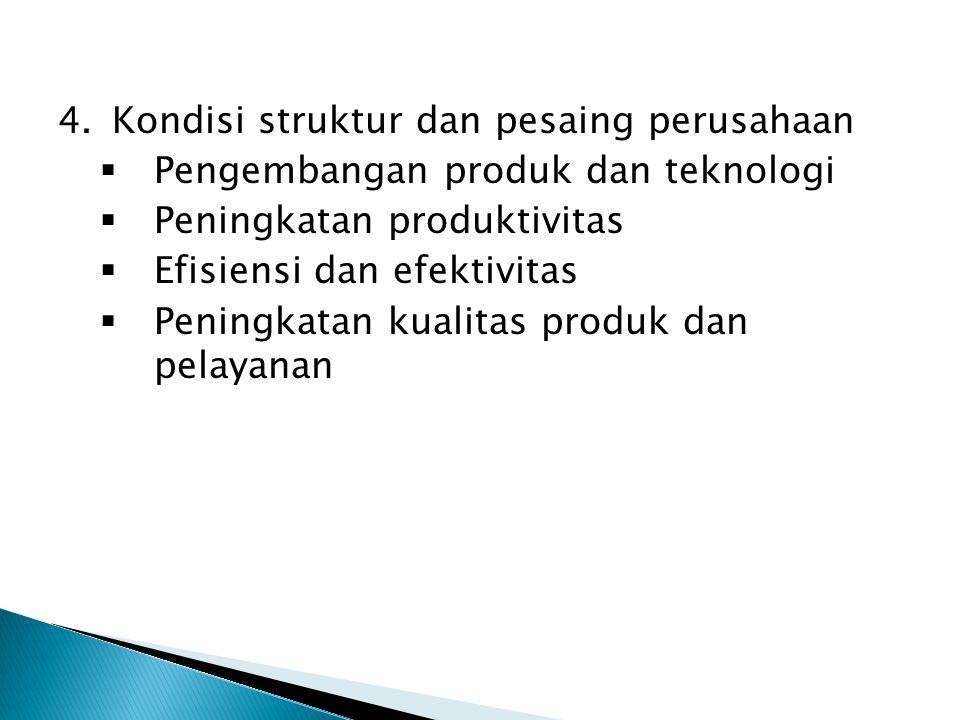 4.Kondisi struktur dan pesaing perusahaan  Pengembangan produk dan teknologi  Peningkatan produktivitas  Efisiensi dan efektivitas  Peningkatan ku