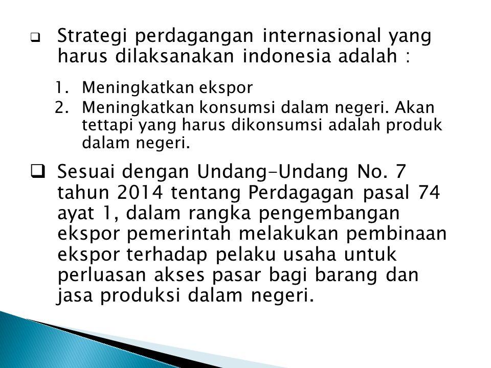  Strategi perdagangan internasional yang harus dilaksanakan indonesia adalah : 1.Meningkatkan ekspor 2.Meningkatkan konsumsi dalam negeri. Akan tetta