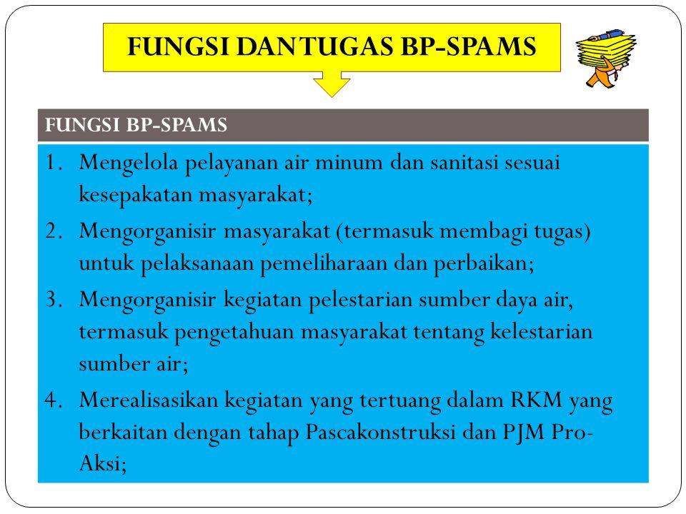 FUNGSI BP-SPAMS 1.Mengelola pelayanan air minum dan sanitasi sesuai kesepakatan masyarakat; 2.Mengorganisir masyarakat (termasuk membagi tugas) untuk