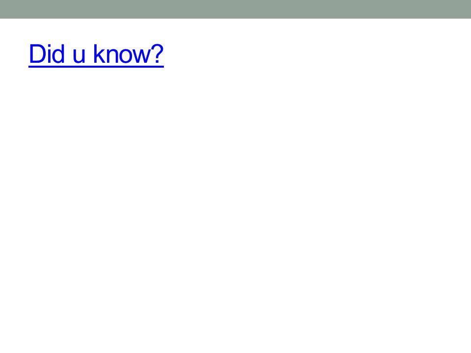 Did u know?