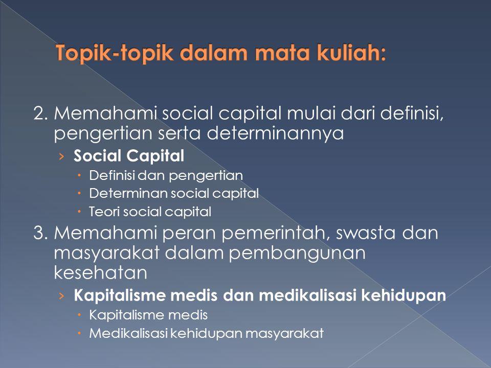 2. Memahami social capital mulai dari definisi, pengertian serta determinannya › Social Capital  Definisi dan pengertian  Determinan social capital