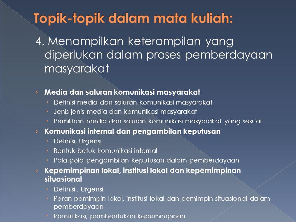 4. Menampilkan keterampilan yang diperlukan dalam proses pemberdayaan masyarakat › Media dan saluran komunikasi masyarakat  Definisi media dan salura