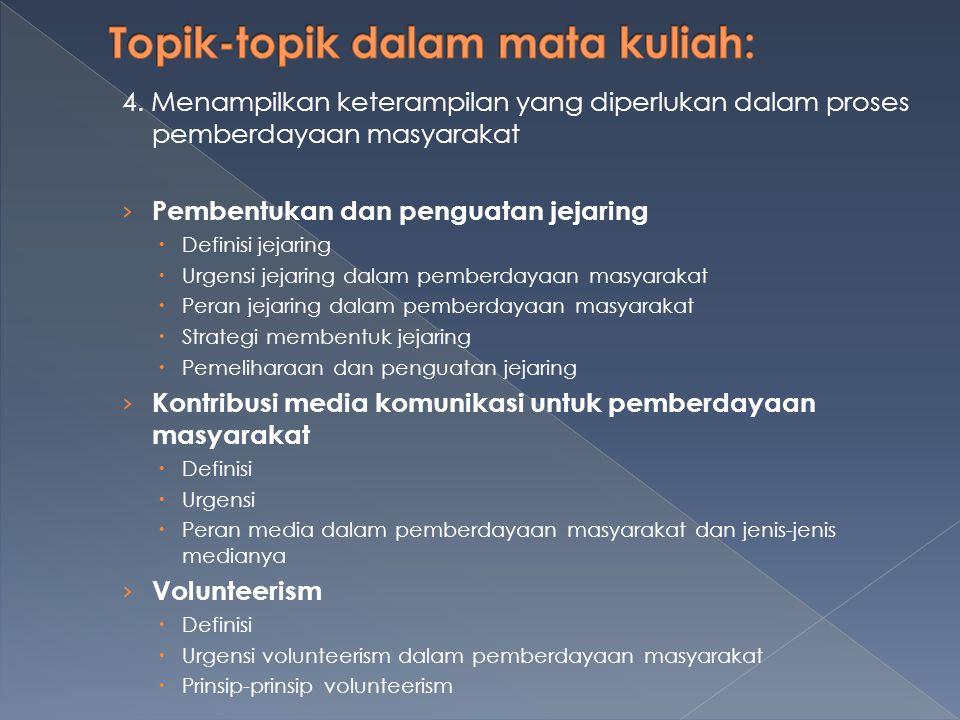 4. Menampilkan keterampilan yang diperlukan dalam proses pemberdayaan masyarakat › Pembentukan dan penguatan jejaring  Definisi jejaring  Urgensi je