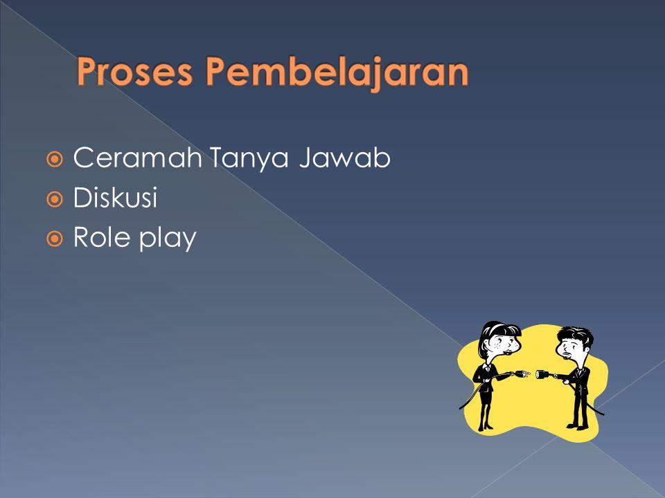 Ceramah Tanya Jawab  Diskusi  Role play