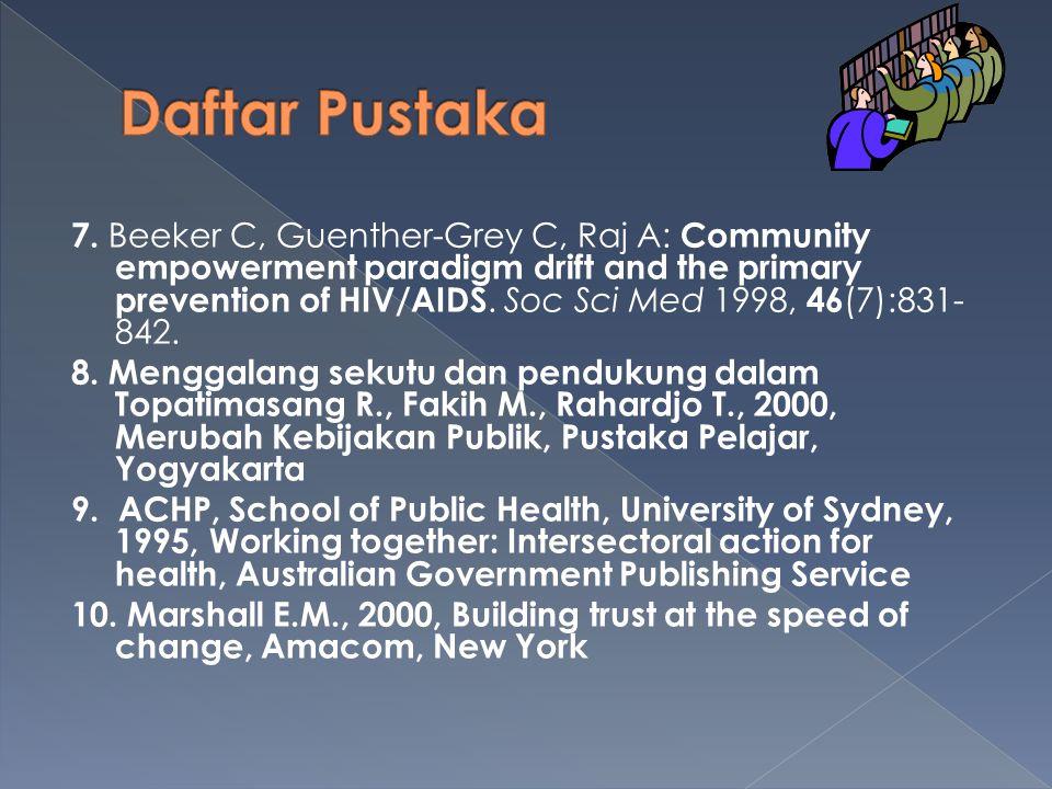 1.Meningkatkan pengetahuan dan kemampuan pemberdayaan masyarakat dan menggalang kerja sama 2.