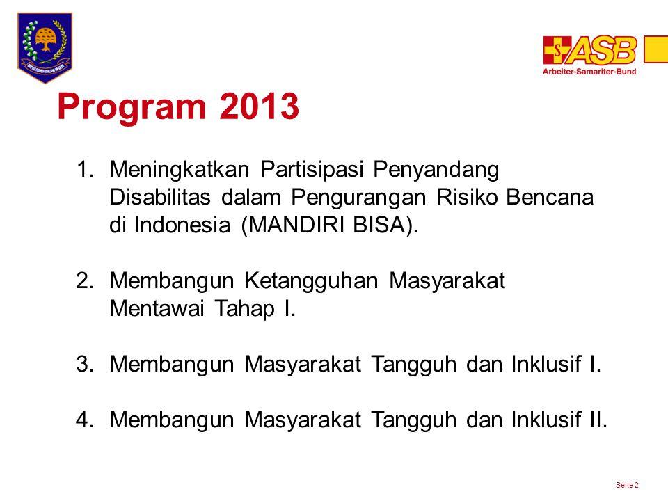 Program 2013 Seite 2 1.Meningkatkan Partisipasi Penyandang Disabilitas dalam Pengurangan Risiko Bencana di Indonesia (MANDIRI BISA).