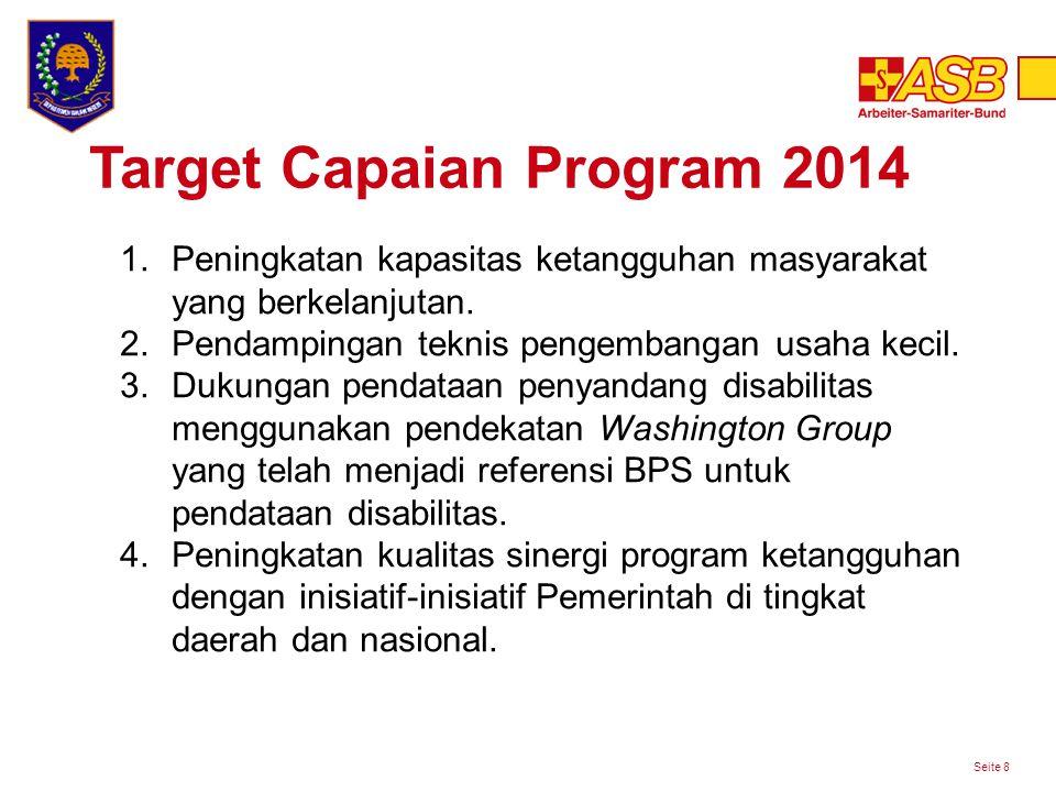 Target Capaian Program 2014 Seite 8 1.Peningkatan kapasitas ketangguhan masyarakat yang berkelanjutan.