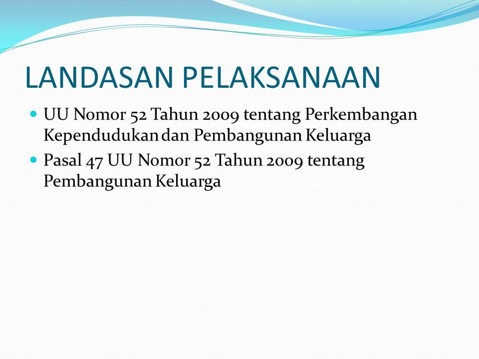 LANDASAN PELAKSANAAN UU Nomor 52 Tahun 2009 tentang Perkembangan Kependudukan dan Pembangunan Keluarga Pasal 47 UU Nomor 52 Tahun 2009 tentang Pembang