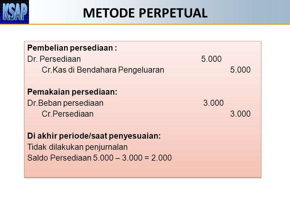 METODE PERPETUAL Pembelian persediaan : Dr.