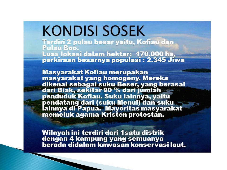 KONDISI SOSEK Terdiri 2 pulau besar yaitu, Kofiau dan Pulau Boo. Luas lokasi dalam hektar: 170.000 ha, perkiraan besarnya populasi : 2.345 Jiwa Masyar