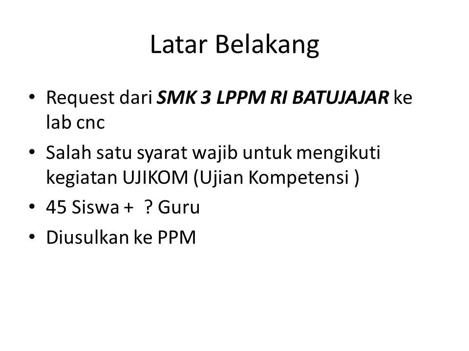 Latar Belakang Request dari SMK 3 LPPM RI BATUJAJAR ke lab cnc Salah satu syarat wajib untuk mengikuti kegiatan UJIKOM (Ujian Kompetensi ) 45 Siswa + .