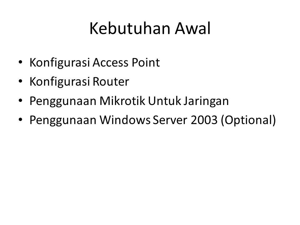 Kebutuhan Awal Konfigurasi Access Point Konfigurasi Router Penggunaan Mikrotik Untuk Jaringan Penggunaan Windows Server 2003 (Optional)