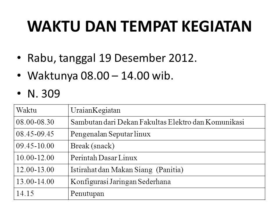 WAKTU DAN TEMPAT KEGIATAN Rabu, tanggal 19 Desember 2012. Waktunya 08.00 – 14.00 wib. N. 309 WaktuUraianKegiatan 08.00-08.30Sambutan dari Dekan Fakult