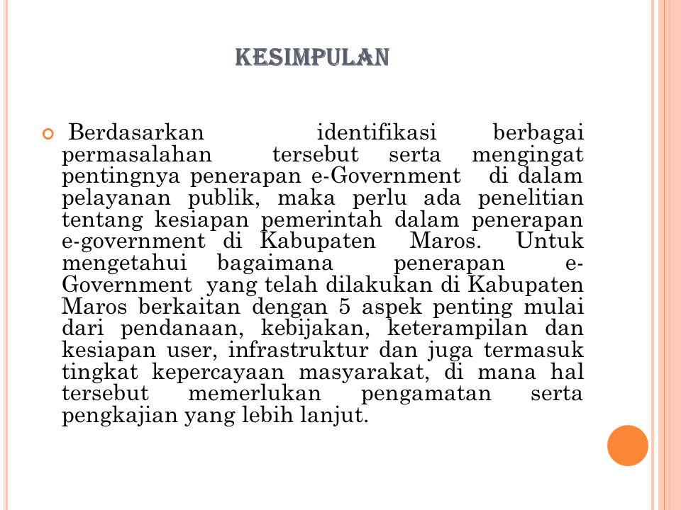 KESIMPULAN Berdasarkan identifikasi berbagai permasalahan tersebut serta mengingat pentingnya penerapan e-Government di dalam pelayanan publik, maka p