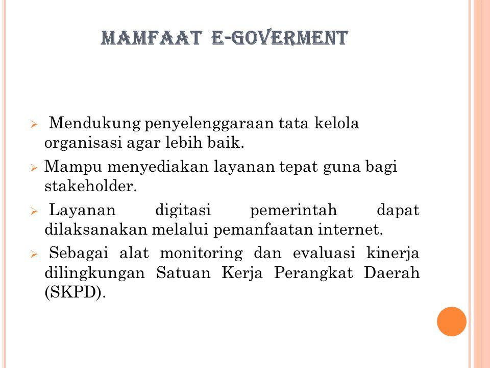 MAMFAAT E-GOVERMENT  Mendukung penyelenggaraan tata kelola organisasi agar lebih baik.  Mampu menyediakan layanan tepat guna bagi stakeholder.  Lay