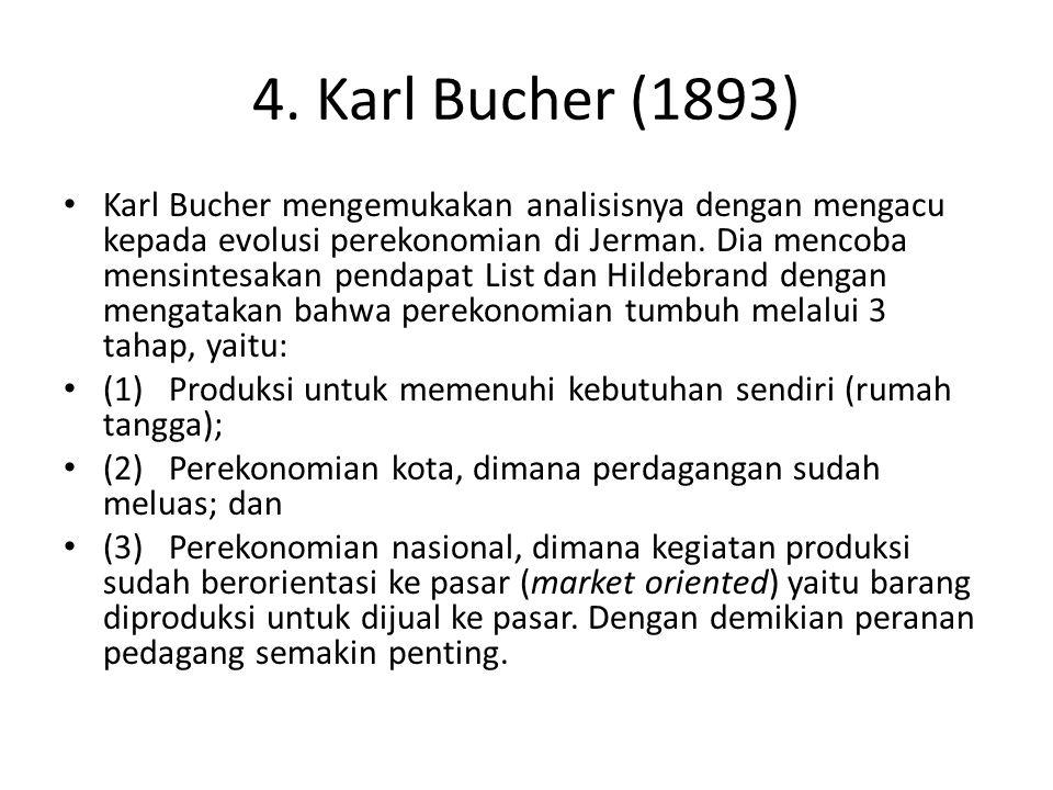 4. Karl Bucher (1893) Karl Bucher mengemukakan analisisnya dengan mengacu kepada evolusi perekonomian di Jerman. Dia mencoba mensintesakan pendapat Li