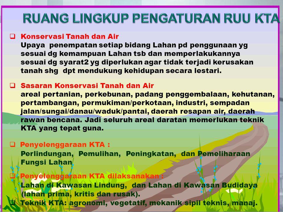  Konservasi Tanah dan Air Upaya penempatan setiap bidang Lahan pd penggunaan yg sesuai dg kemampuan Lahan tsb dan memperlakukannya sesuai dg syarat2