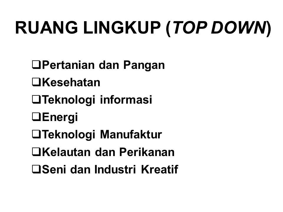 RUANG LINGKUP (TOP DOWN)  Pertanian dan Pangan  Kesehatan  Teknologi informasi  Energi  Teknologi Manufaktur  Kelautan dan Perikanan  Seni dan