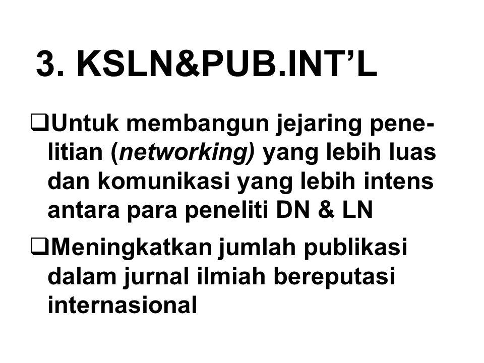 3. KSLN&PUB.INT'L  Untuk membangun jejaring pene- litian (networking) yang lebih luas dan komunikasi yang lebih intens antara para peneliti DN & LN 