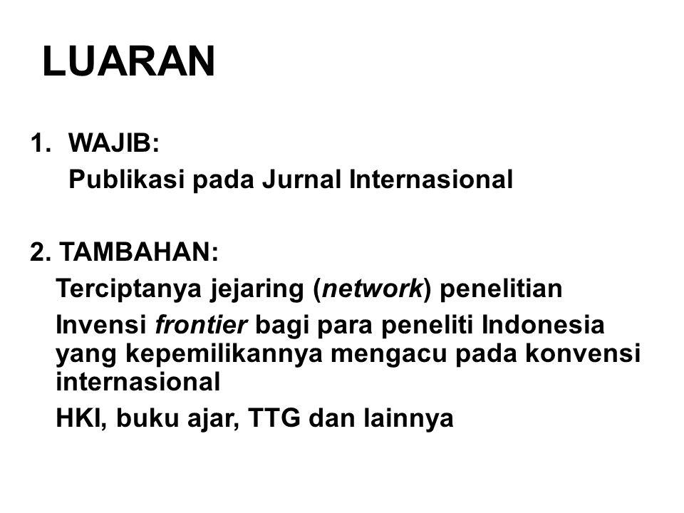 LUARAN 1.WAJIB: Publikasi pada Jurnal Internasional 2. TAMBAHAN: Terciptanya jejaring (network) penelitian Invensi frontier bagi para peneliti Indones