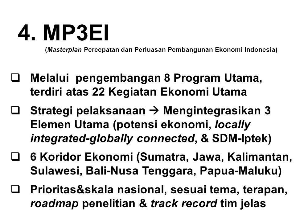 4. MP3EI (Masterplan Percepatan dan Perluasan Pembangunan Ekonomi Indonesia)  Melalui pengembangan 8 Program Utama, terdiri atas 22 Kegiatan Ekonomi
