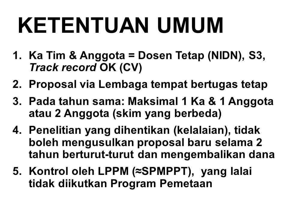 KETENTUAN UMUM 1.Ka Tim & Anggota = Dosen Tetap (NIDN), S3, Track record OK (CV) 2.Proposal via Lembaga tempat bertugas tetap 3.Pada tahun sama: Maksi