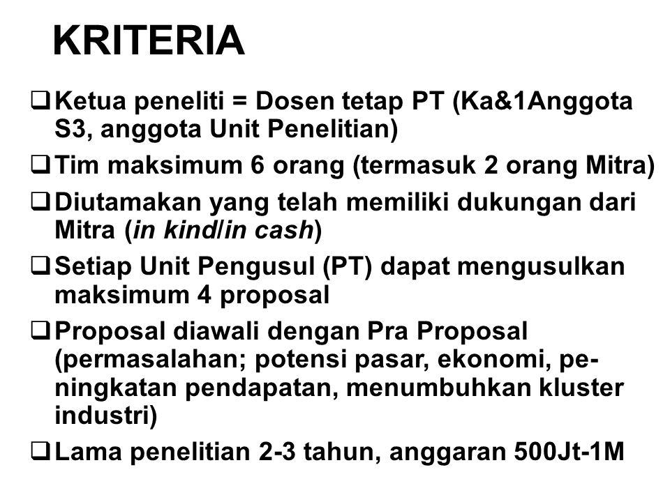 KRITERIA  Ketua peneliti = Dosen tetap PT (Ka&1Anggota S3, anggota Unit Penelitian)  Tim maksimum 6 orang (termasuk 2 orang Mitra)  Diutamakan yang