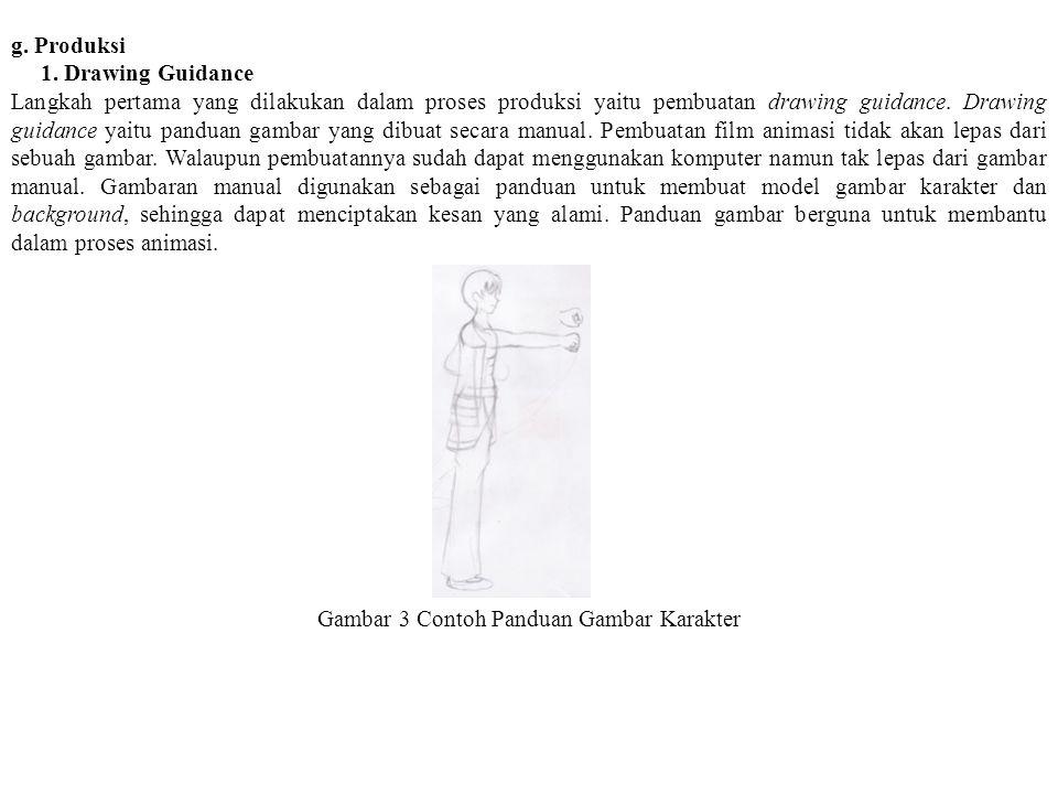 g. Produksi 1. Drawing Guidance Langkah pertama yang dilakukan dalam proses produksi yaitu pembuatan drawing guidance. Drawing guidance yaitu panduan