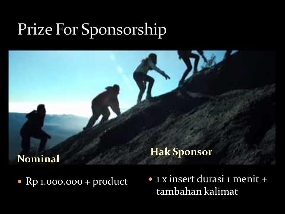 Nominal Rp 1.000.000 + product 1 x insert durasi 1 menit + tambahan kalimat Hak Sponsor