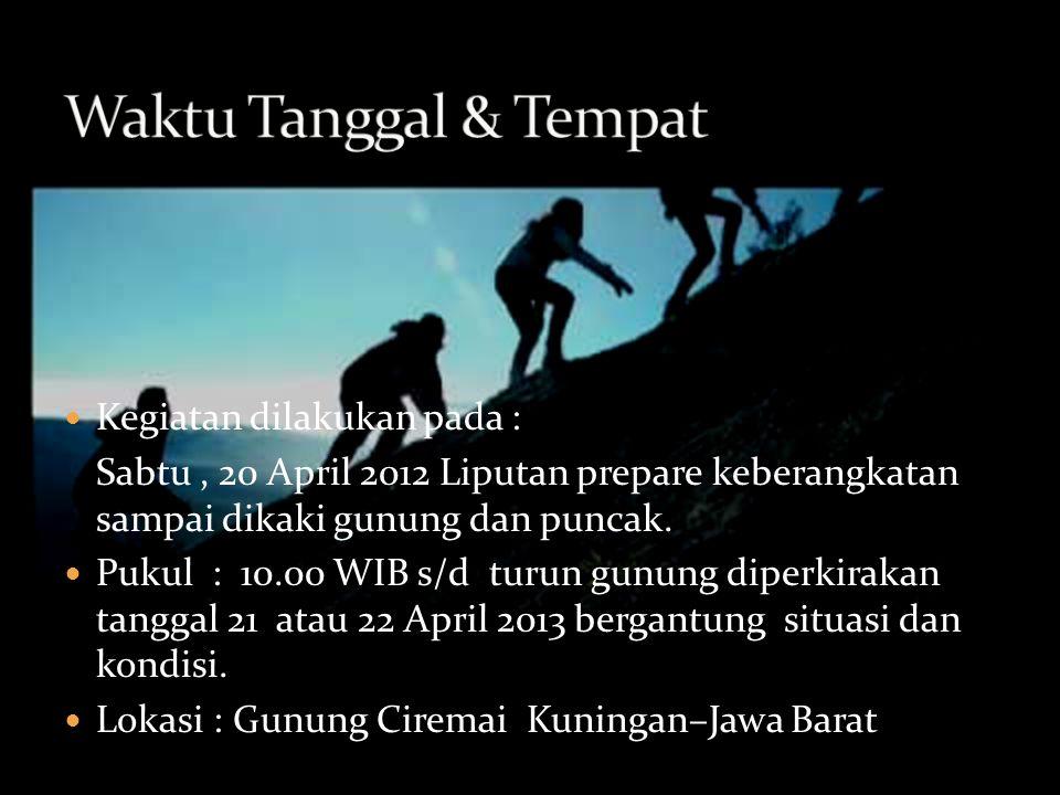 Kegiatan dilakukan pada : Sabtu, 20 April 2012 Liputan prepare keberangkatan sampai dikaki gunung dan puncak.