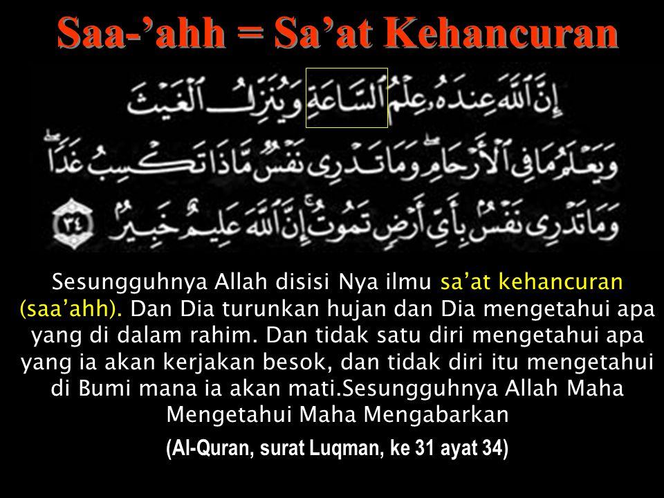 """Katakanlah:""""Untuk kamu Hari Kehancuran yang kamu tidak bisa minta mundur darinya sesa'at (saa'ahh) dan tidak bisa kamu minta dilekaskan (Al-Quran, sur"""