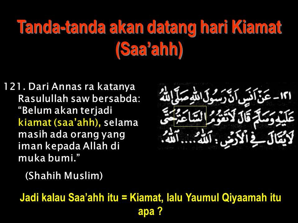 "Tanda-tanda akan datang hari Kiamat (Saa'ahh) 1.(Hadits ini cukup panjang, namun di akhir hadits ini Jibril bertanya kepada Nabi saw: ""Terangkan kepad"
