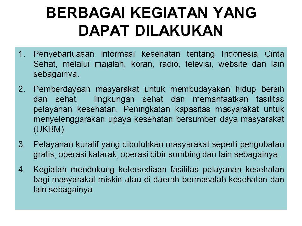 BERBAGAI KEGIATAN YANG DAPAT DILAKUKAN 1.Penyebarluasan informasi kesehatan tentang Indonesia Cinta Sehat, melalui majalah, koran, radio, televisi, we