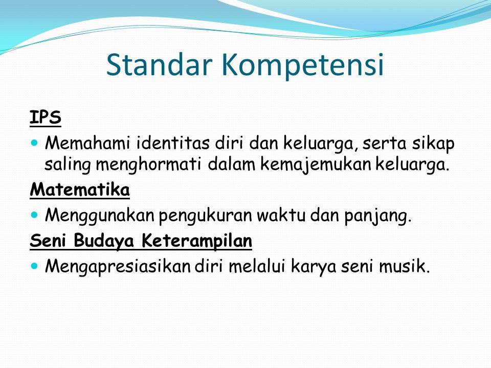 Standar Kompetensi IPS Memahami identitas diri dan keluarga, serta sikap saling menghormati dalam kemajemukan keluarga.