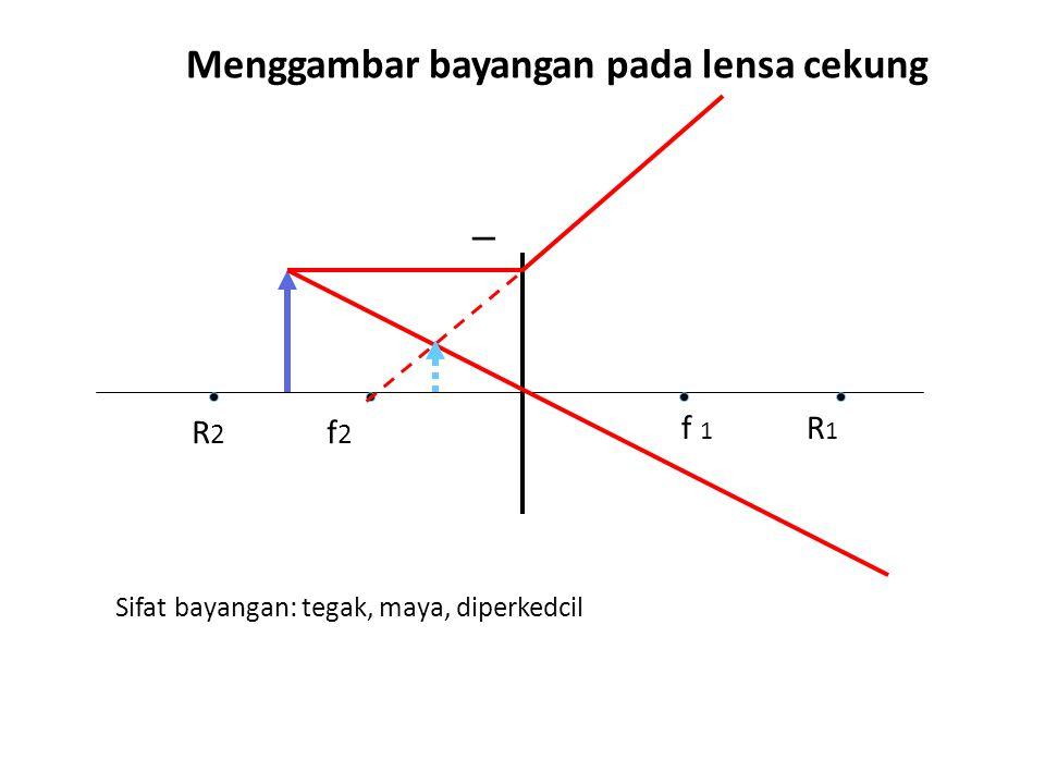 Menggambar bayangan pada lensa cekung _ f 1 R 1 R 2 f 2 Sifat bayangan: tegak, maya, diperkedcil