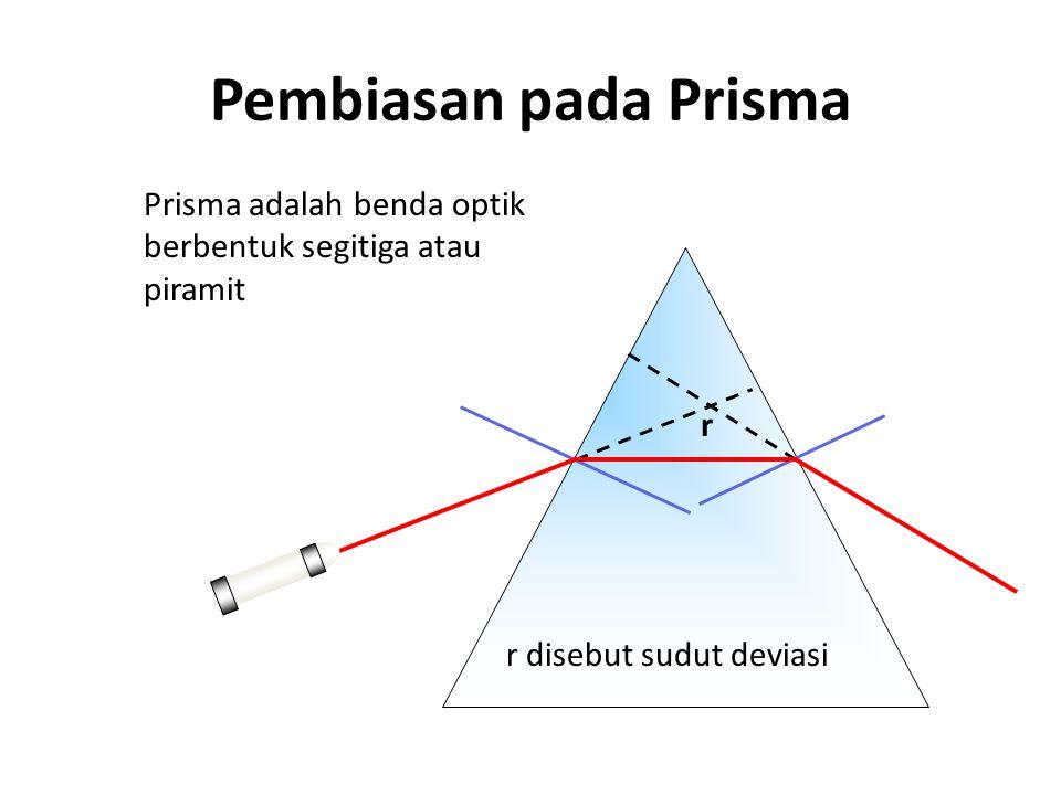 Pembiasan pada Prisma r r disebut sudut deviasi Prisma adalah benda optik berbentuk segitiga atau piramit