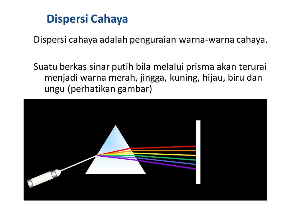 Dispersi Cahaya Dispersi cahaya adalah penguraian warna-warna cahaya.